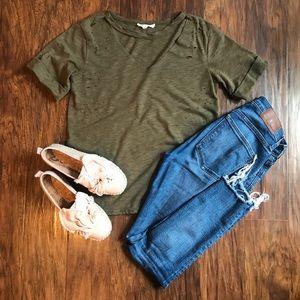 ✨ Army Green Cut Out Choker Tee ✨